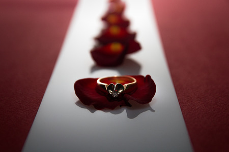 wallpaper International Women s Day: wedding ring on a rose petal, petals between red wide stripes
