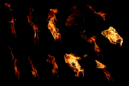 Set of isolated flames on a black background