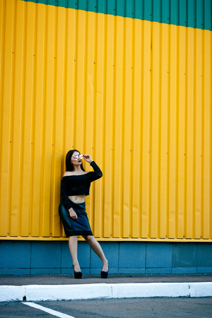 Gorgeous brunette girl with a beautiful make-up in fashionable clothes: a black jacket with a bare navel and leather skirt with shoes and sunglasses. Against the background of a yellow wall Stock Photo