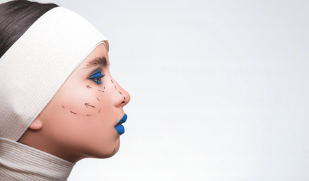 Beauty concept  Young model with blue lips and soft skin preparу