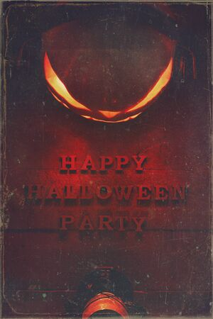 The concept of Halloween. Glowing evil scary pumpkin with headphones, jack lamp, with bat lamp, with inscription Happy Halloween party, on a wooden background