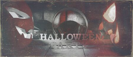 The concept of Halloween. Two glowing oranjous and blue light angry scary pumpkin with headphones and disks, a jack-off lantern, with an inscription Halloween party, on a wooden background