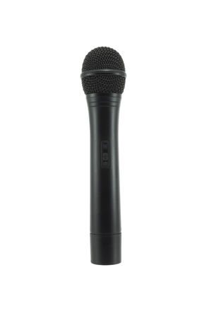 using voice: Single microphone isolated on white