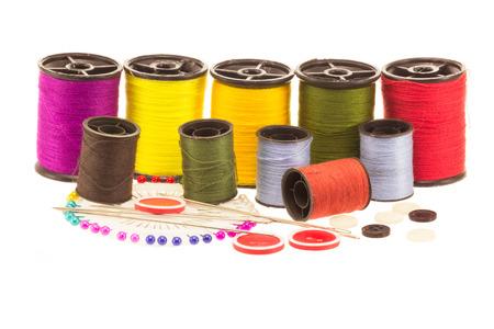 thread spools on white background Stock Photo