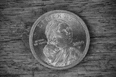 us coin: us coin on wood background