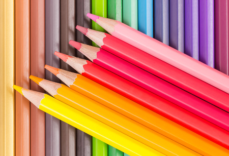 sharpened: colorful sharpened pencils in arow Stock Photo