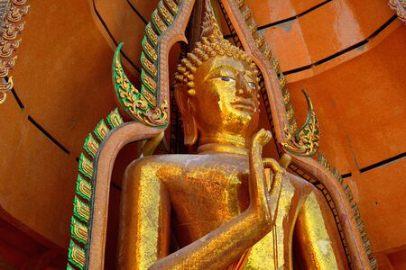 sua: Thai buddha a stupa, Golden sculpture,Sua cave temple Kanchanaburi Thailand. Stock Photo