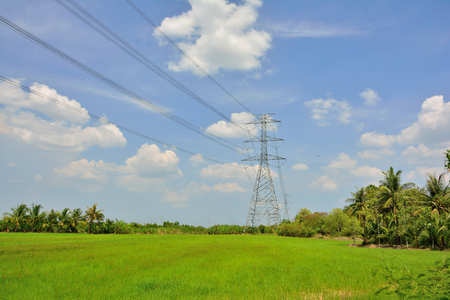 High voltage pole with natural landscape