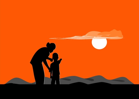 Silhouette of mother and son standing on the mountain watching the sunset. Vectores