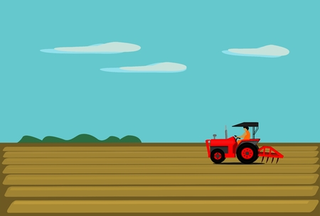 The man is driving a red tractor. In order to plow the soil in the field. Have a natural view as the background