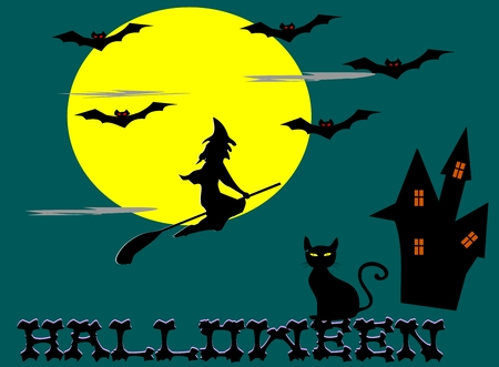 Witches riding brooms,moon,bat,cat,castle, Halloween