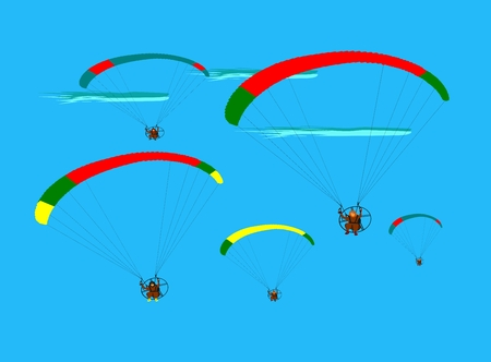 Group of para gliding flying on the sky cloud blue background,team work show flying paragliding Illustration