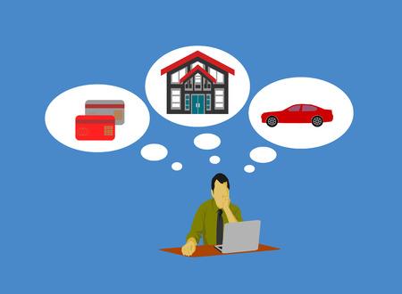 Geschäftsmann sitzt vor dem Computer Kredit für Schulden wie Autokredite, Wohnungsbaudarlehen, Kreditkarten. Hat einen blauen Hintergrund