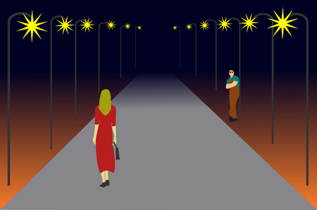Women are walking on a lonely road. There are men looking at her ,black background, Dangerous if in seclusion.