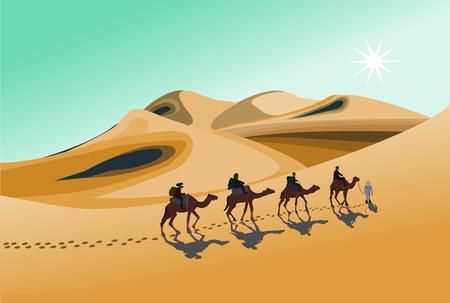 Cuatro jinetes en camello están caminando bajo el sol caliente en el desierto con fondo de montaña de arena.