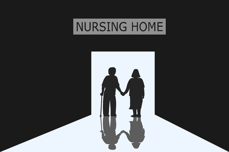 Old men and women who are couples are entering the door of the nursing home with light ,black and white picture