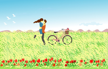 couple hugged  in the reeds field. There is a bicycle on the side and a mountain in the background Vectores