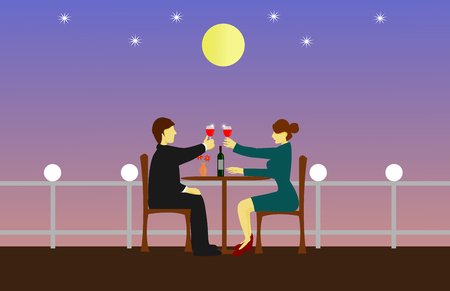 Couples are sipping wine on a wooden table. The rooftop has a moon as the background.