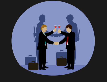 Businessmen are holding hands and drinking wine. But the shadow on both sides of his hand holds a knife,black background Ilustração
