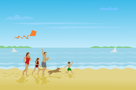 Family, parents, girls, boys are running on the beach on a happy holiday With sea as background Stock Illustratie