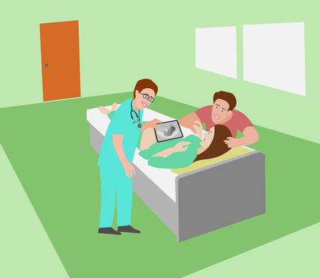 Obstetrics are doing ultrasound See the baby in the belly of the woman on the bed with the couple waiting to cheer in blue room