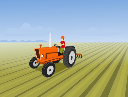 The man is driving a orange tractor. In order to plow the soil in the field. Have a blue sky background Ilustração Vetorial
