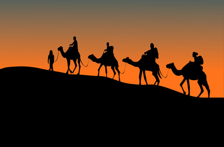 silhouette of four camel riders. Up hill with sunset  background