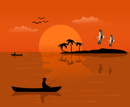 Silhouette of a man on a small boat that is fishing There is an island and the sunset background Vettoriali