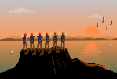 Six teams people stood up and showed his hands on the top of the mountain happily. There are sea, mountains and sunset background Ilustrace