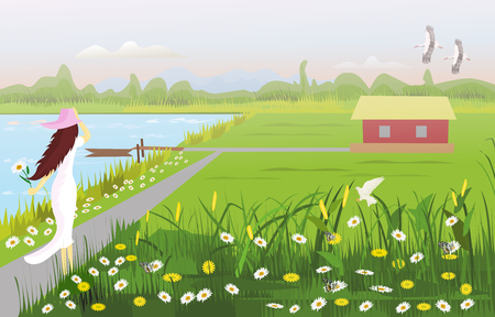 A white dress woman wearing a hat on walkway, There is a house in the middle of a field, with a flower garden, a waterfront with a small boat, with forests and mountains as the background. Ilustración de vector