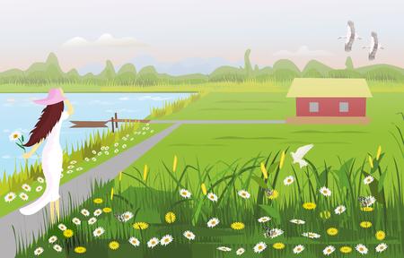 Una donna vestita di bianco che indossa un cappello sulla passerella, c'è una casa in mezzo a un campo, con un giardino fiorito, un lungomare con una piccola barca, con foreste e montagne come sfondo. Vettoriali