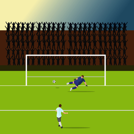 striker players is shooting the goal. But the goalkeeper struck the other way By the silhouette of the cheering as the background