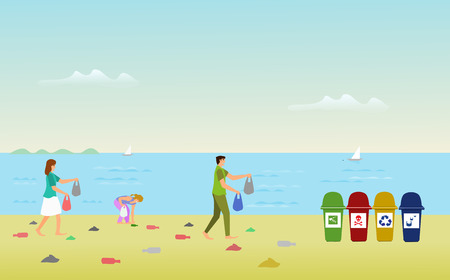 Parents' families are helping to collect debris on the beach in order to leave the trash. With sea as background Иллюстрация