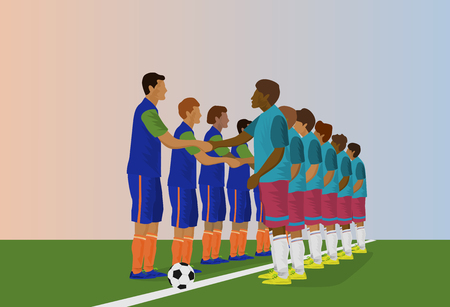 The football team is holding hands. In order to start a football match,blue background