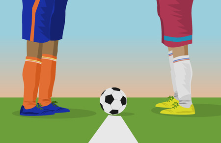 Close up foot of two footballers and soccer balls Are starting to play football matches Illustration