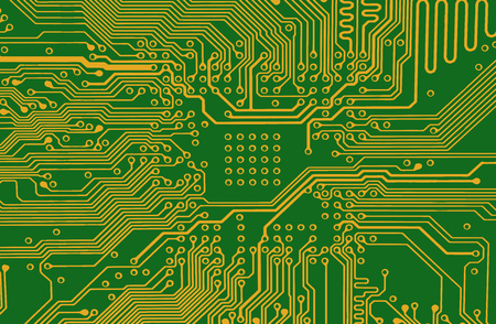 abstract vector background with  circuit board ,line yellow and green background  イラスト・ベクター素材