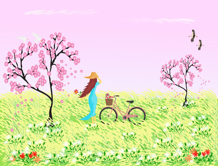 Woman in blue skirt wearing a hat with a bicycle standing in a field with reed flowers and Sakura tree, the pink sky as the background.