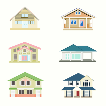 Set vector of house on a white background
