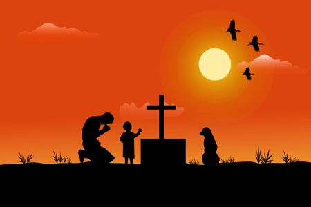 The silhouette of a man and a child has a dog beside him. Being sad at the grave sunset background Illustration