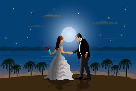 The married couple is dancing on the beach. With the sea and the moon as the background