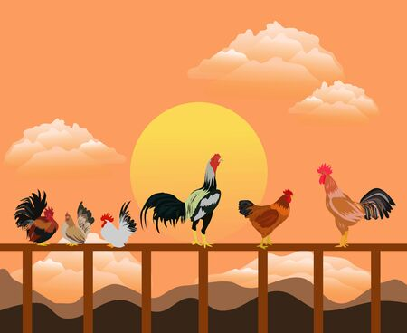 Many groups of chickens stand on a wooden fence. With sunset and orange sky as the background 向量圖像
