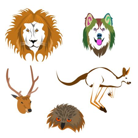 Drawing of various animal heads on white background Stock Illustratie