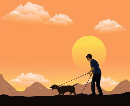 Niewidomy mężczyzna trzymał w ręku drążek prowadzący, a z przodu wyprowadzał psa. W tle góry i zachody słońca.