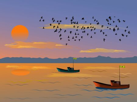 Fishing boat sailing in the evening sea. Have a sunset and mountain background