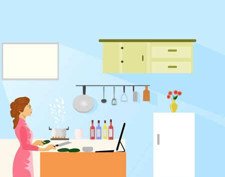 Woman making food by looking at internet cooking methods in the kitchen. With kitchenware in the background