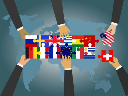 Leaders of countries around the world are connecting the national flag jigsaw. With a world map and a blue background. Various national cooperation