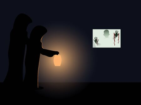 Man in black robe walking with lanterns. The glass room had the shadow of a bloody hand. black background.