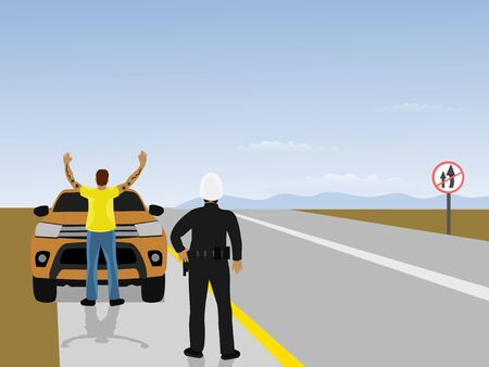 Highway patrol is instructing men to stand back and hold hands in front of cars. With mountains and blue sky in the background