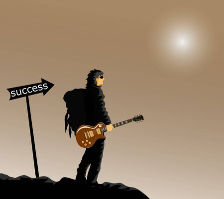 The man in black is carrying a backpack on his back in the handle of the guitar. On the black hills Labeled with the word Success beside, brown  and moon background Stock Illustratie