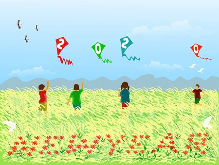 Four children are playing a kite with a 2020 figure in a field of reeds,Red flowers arranged in letters new year,There are mountains and the blue sky background. Illustration
